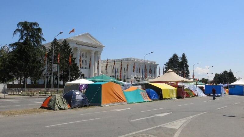 Protivládny protest v Skopje